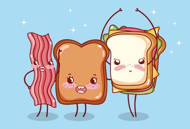 Fast-food Et Petit Déjeuner Mignon Pain Sandwich Et Bacon Cartoon Vecteur Premium