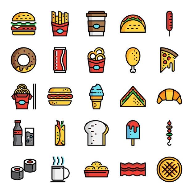 Fast food pixel icônes de ligne de couleur parfaite Vecteur Premium