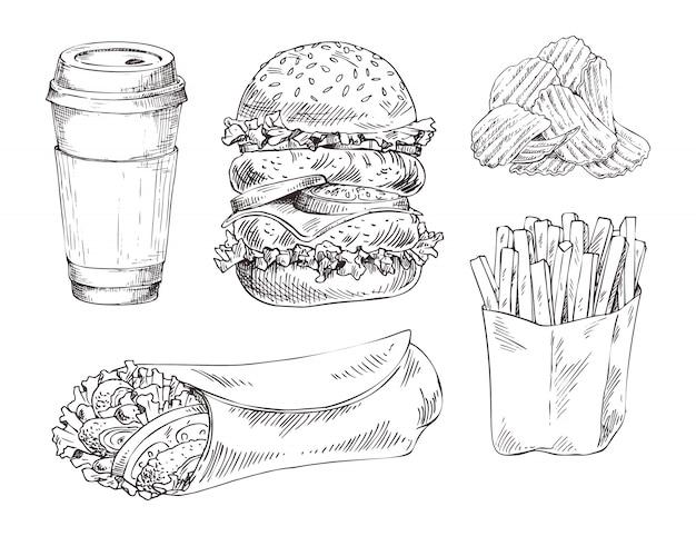Fast-food set esquisse monochrome de vecteur dessiné à la main Vecteur Premium