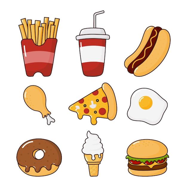 Fast Food Snacks Icônes Définies. Boissons Et Dessert Isolés Sur Blanc. Vecteur Premium