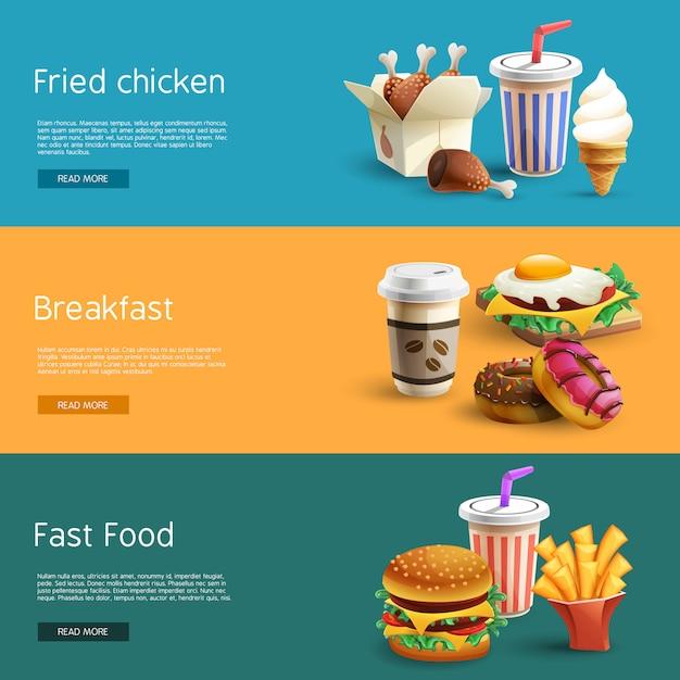 Fastfood options pictogrammes 3 bannières horizontales Vecteur gratuit