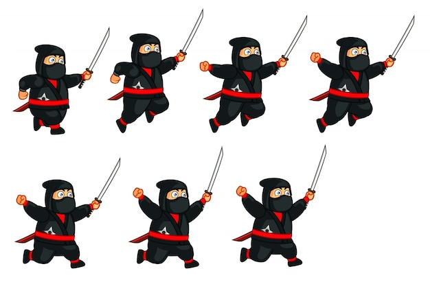Fat ninja carton animation sprite Vecteur Premium