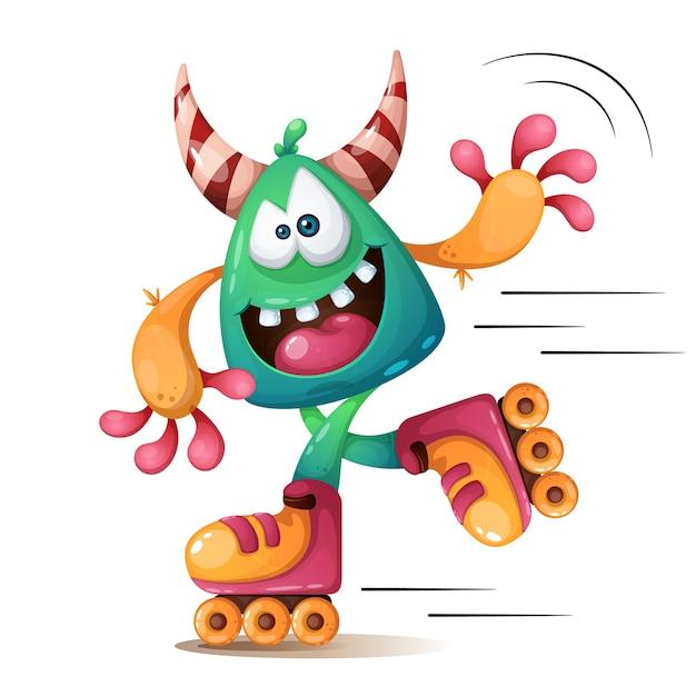 Faunny, personnages mignons et mignons de monscteur. roller skater illustraton Vecteur Premium