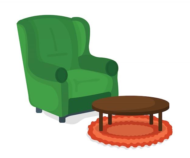 Fauteuil Et Concept D'icône De Table. Meubles Sur Fond Blanc. Chaise Symbole, Icône Et Insigne. Illustration De Dessin Animé Vecteur Premium