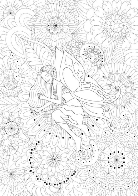 Fée dessinée à la main sur des fleurs Vecteur gratuit