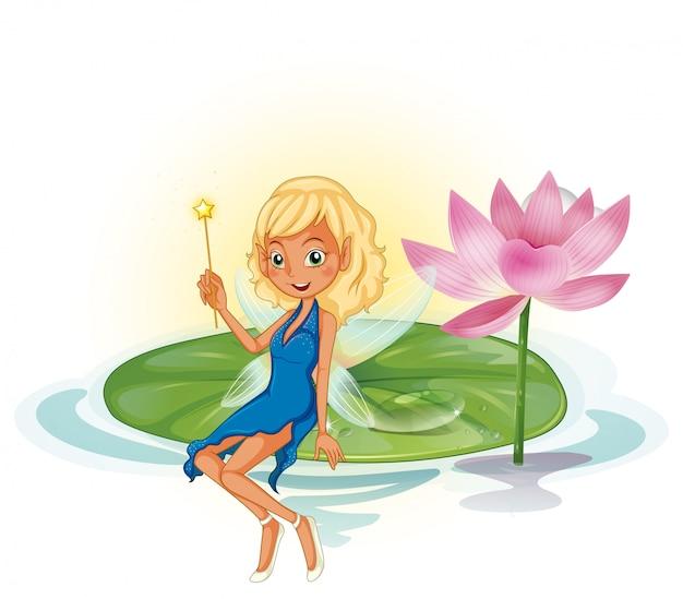 Fée et lotus Vecteur gratuit