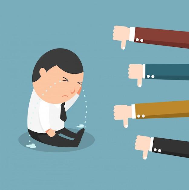 Feedback-le concept de l'homme qui pleure parce qu'il ne travaillait pas bien, problème de travail Vecteur Premium