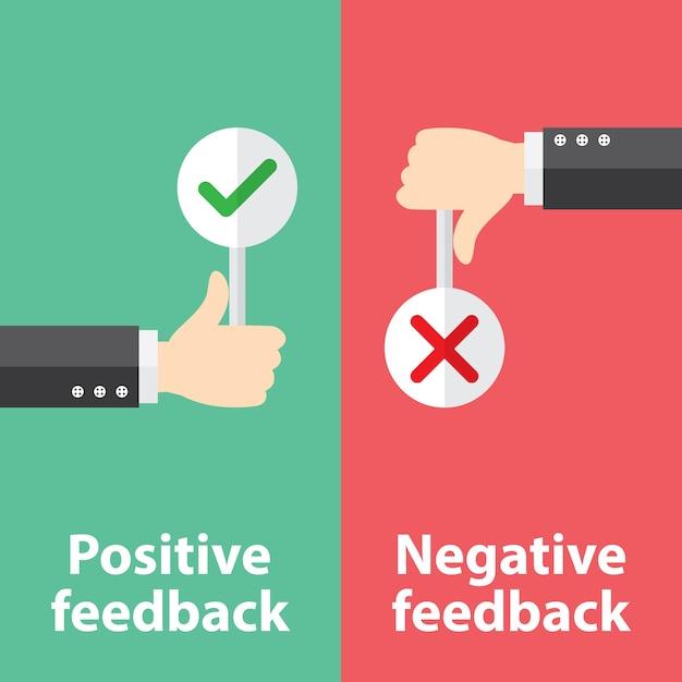 Feedback positif et négatif Vecteur Premium