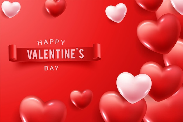 Félicitations Joyeuses Saint Valentin Avec Des Formes De Coeur 3d Rouges Et Roses Vecteur Premium