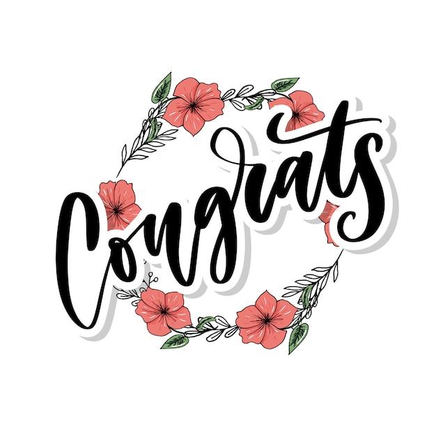 Félicitations manuscrite lettrage pour carte de félicitations, carte de voeux Vecteur Premium