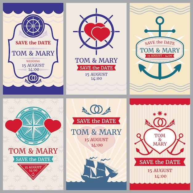Félicitations nautiques vecteur arrière-plans pour invitation de mariage avec la conception d'ancre et de la mer Vecteur Premium