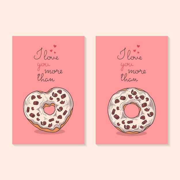 Félicitations Pour La Saint Valentin. Cartes Avec Des Beignets.   Vecteur Premium