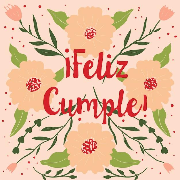 Feliz Cumple Carte De Voeux Joyeux Anniversaire En Espagnol Vecteur Premium