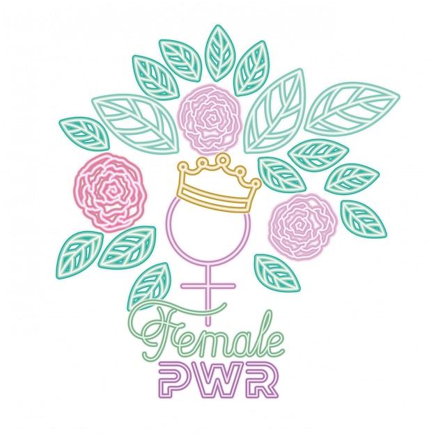 Female power label sexe symbole féminin icônes Vecteur Premium