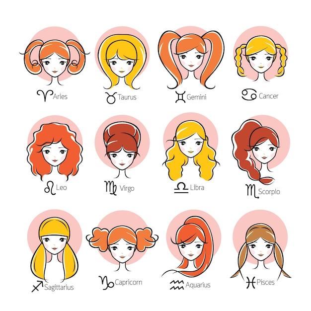 Femme Avec 12 Signes Astrologiques Du Zodiaque Vecteur Premium