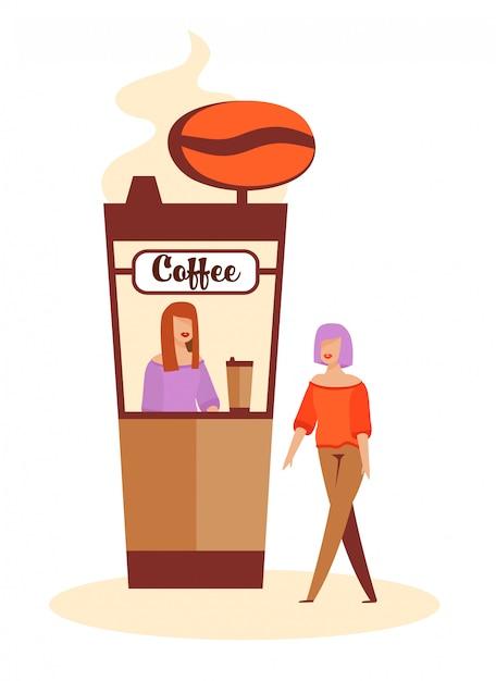 Femme achetant du café à coffee-box avant de dater Vecteur Premium