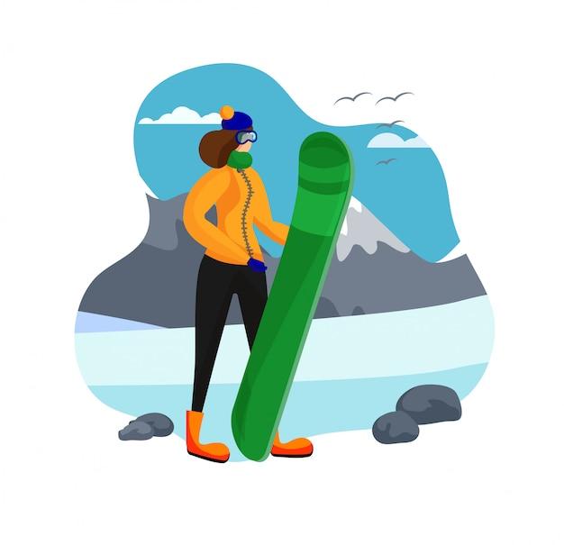Femme adulte, vêtements, tenue, snowboard Vecteur Premium