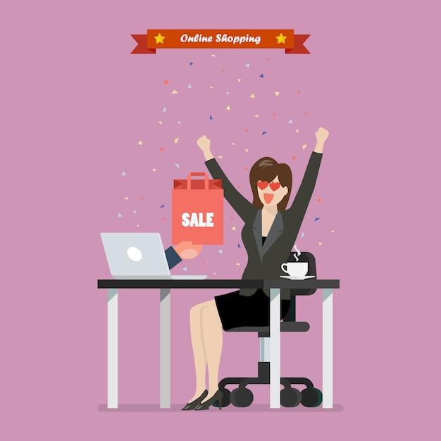 Femme d'affaires, achats en ligne sur un ordinateur portable Vecteur Premium