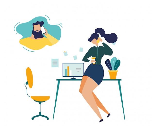 Femme affaires, appeler, mari, plat, concept Vecteur Premium