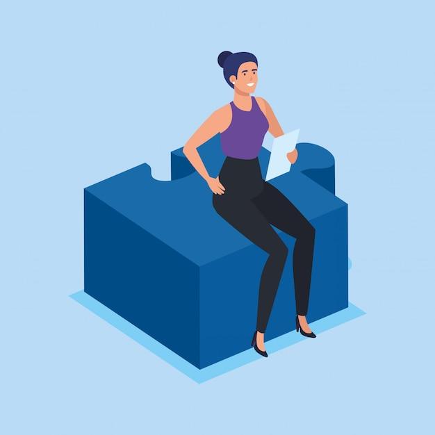Femme d'affaires assis dans la pièce du puzzle Vecteur gratuit