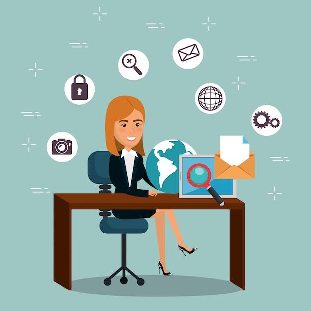 Femme D'affaires Au Bureau Avec Des Icônes De Marketing Par ...