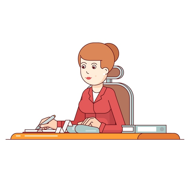 Femme d'affaires calculant ses dépenses Vecteur gratuit