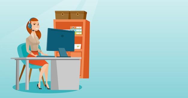 Femme d'affaires avec casque au bureau. Vecteur Premium