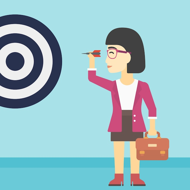 Femme d'affaires et cible Vecteur Premium