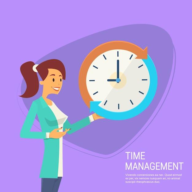 Femme d'affaires avec le concept de gestion du temps d'horloge Vecteur Premium