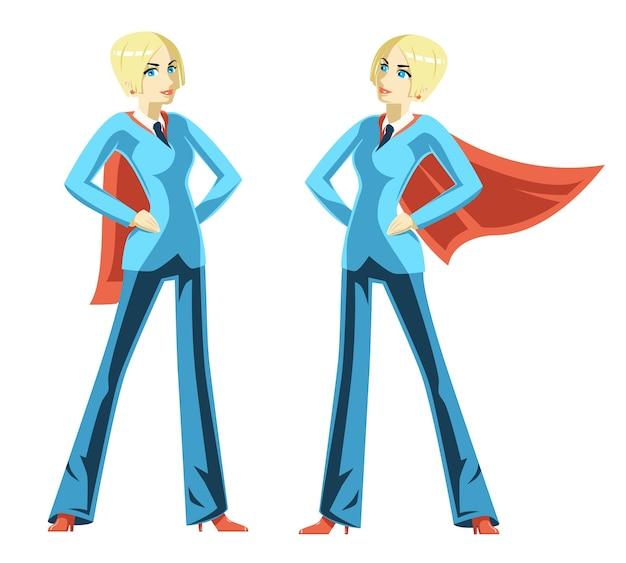 Femme D'affaires Confiante. Cape Rouge, Super-héros Féminin, Superwoman Et Courage De Succès De Puissance, Illustration Vectorielle Vecteur gratuit