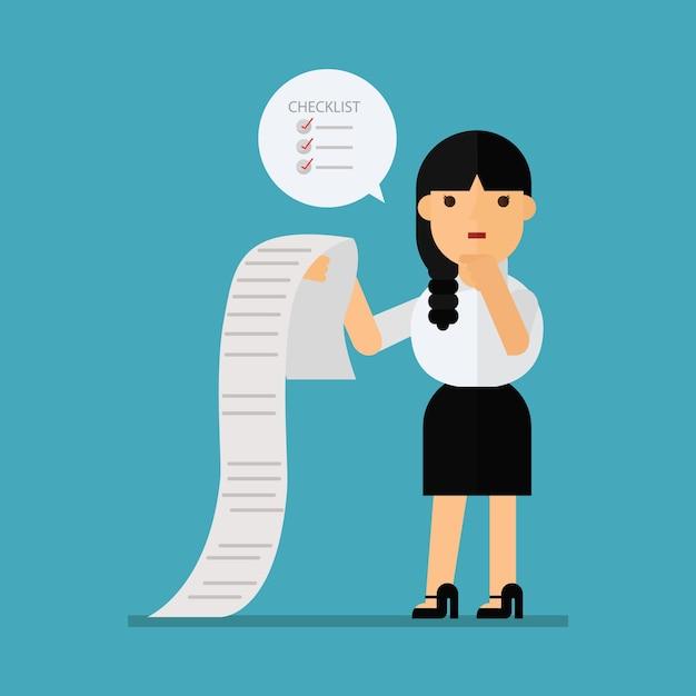 Femme d'affaires confus projet de loi Vecteur Premium