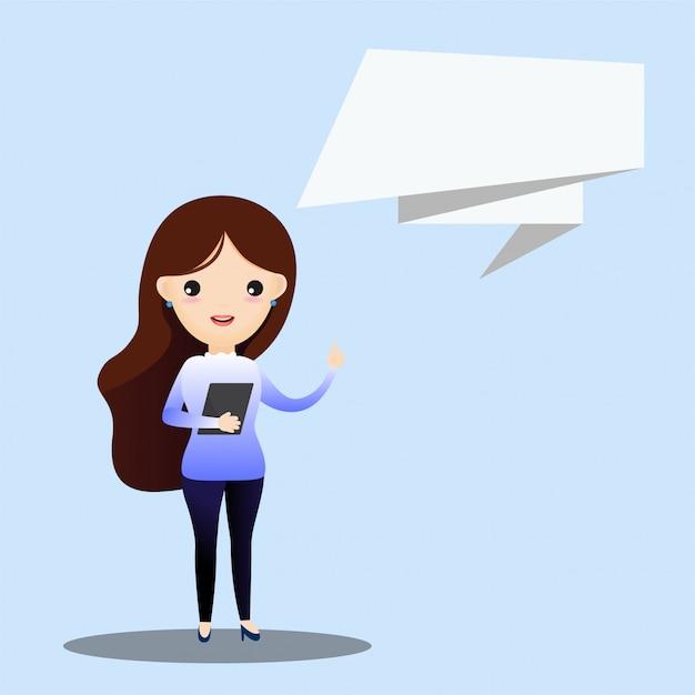Femme affaires, conversation, bulle Vecteur Premium