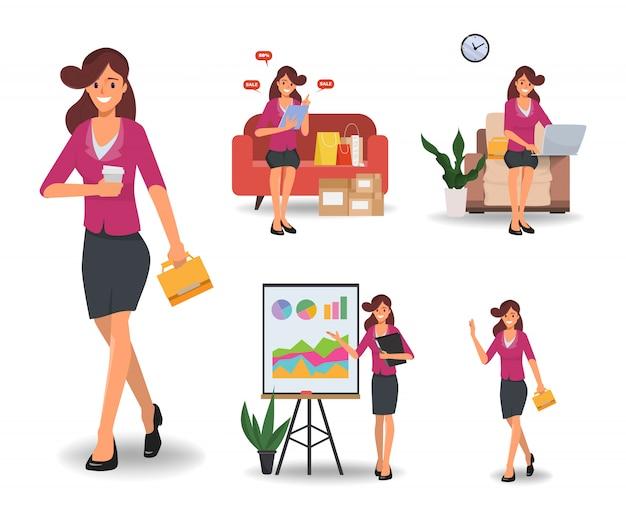 Femme d'affaires dans le jeu de caractères de routine quotidienne emploi et mode de vie. Vecteur Premium