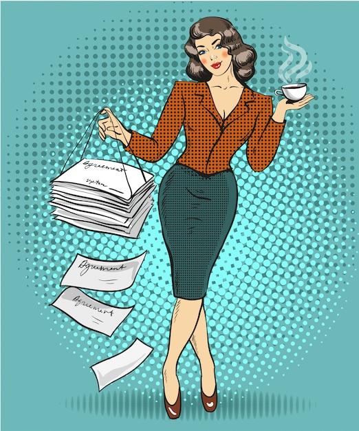 Femme d'affaires dans un style pop art Vecteur Premium