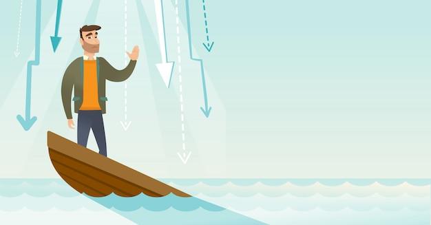 Femme d'affaires debout dans le bateau en perdition. Vecteur Premium