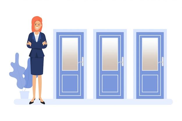 Femme d'affaires debout devant les trois portes. les gens choisissent la voie. Vecteur Premium