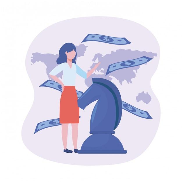 Femme affaires, à, échecs cheval, et, factures, à, carte globale Vecteur gratuit