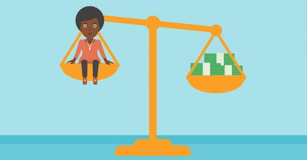 Femme d'affaires à l'échelle avec des piles d'argent. Vecteur Premium