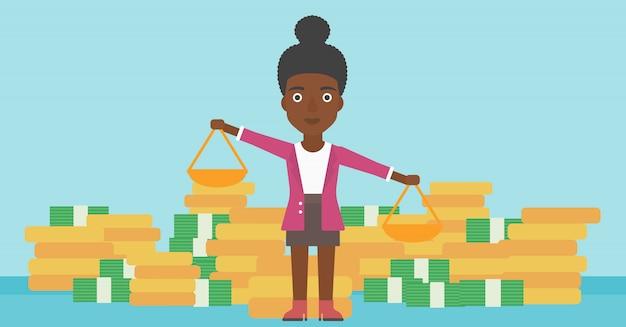 Femme d'affaires avec des échelles vector illustration. Vecteur Premium