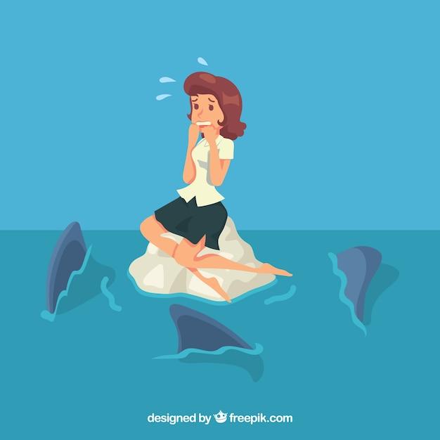 Femme D'affaires Effrayée Et Requins Vecteur gratuit
