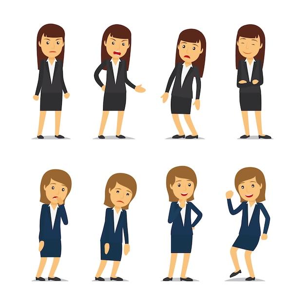 Femme d'affaires émotions et femme d'affaires différentes poses Vecteur Premium