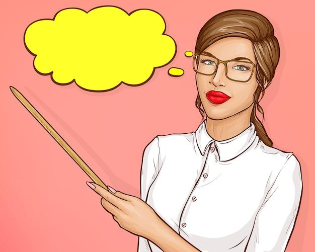 Femme D'affaires Ou Enseignant Aux Cheveux Bruns Vecteur gratuit