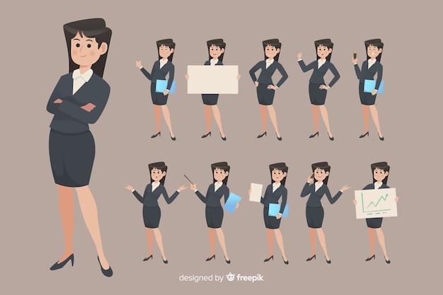 Femme d'affaires faisant différentes actions Vecteur gratuit