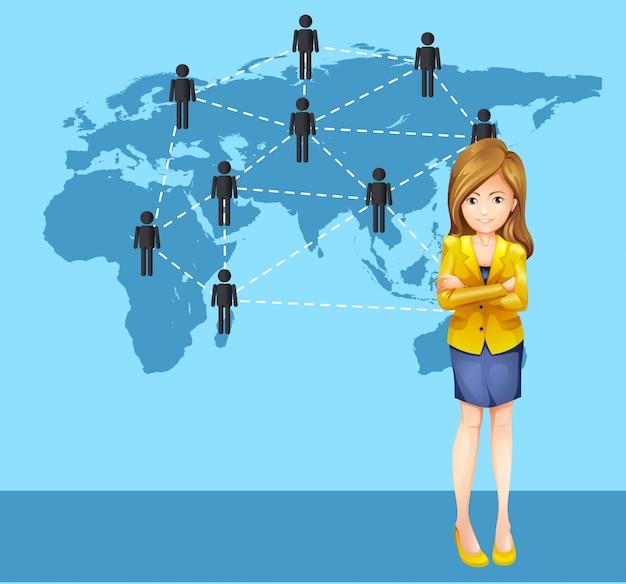 Femme d'affaires et gens du monde entier Vecteur gratuit