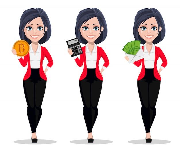 Femme d'affaires, gestionnaire, banquier Vecteur Premium