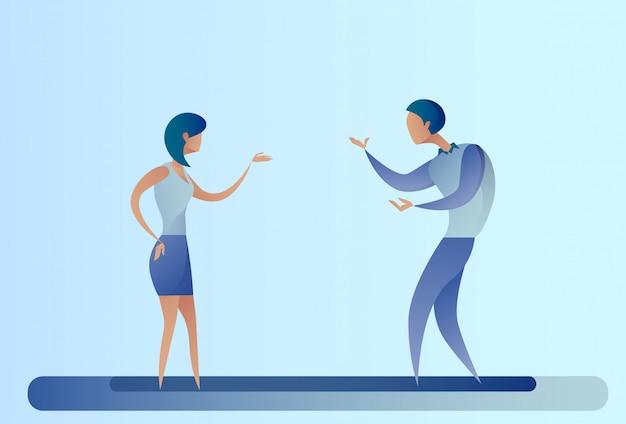 Femme D'affaires Et Homme D'affaires Abstrait Parlant De Coopération D'équipe Vecteur Premium