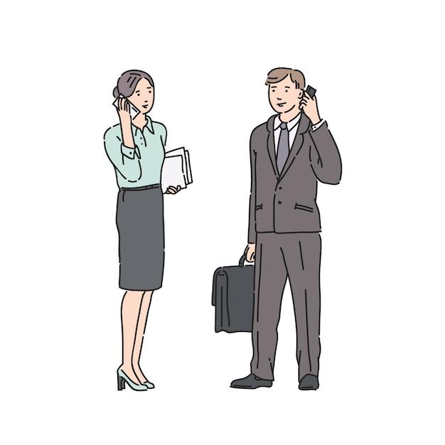 Femme D'affaires Et Homme En Costume Strict, Parler Au Téléphone. Illustration Dans Le Style D'art En Ligne Isolé Sur Blanc Vecteur Premium