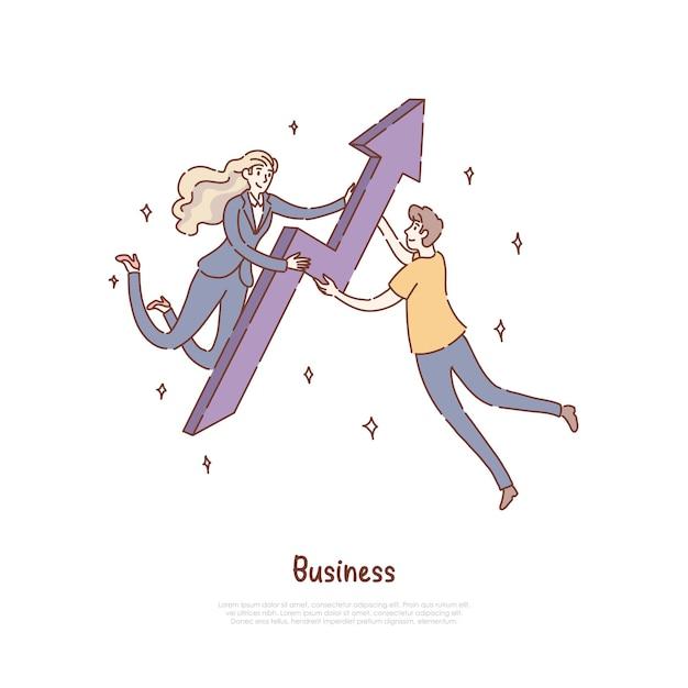 Femme D'affaires Et Homme Travaillant Ensemble Vecteur Premium