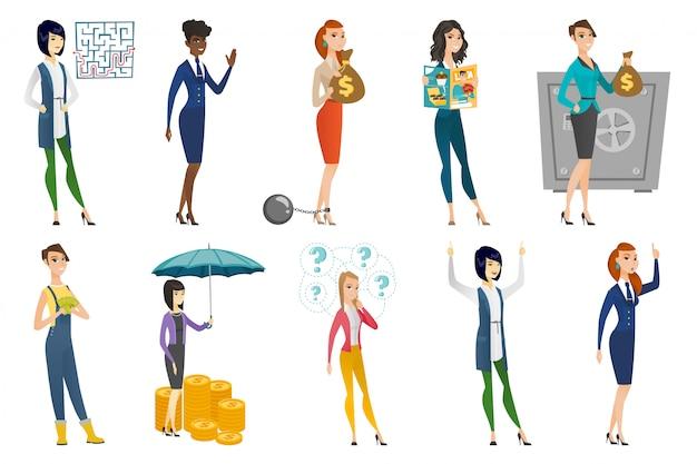 Femme d'affaires, hôtesse de l'air, set de profession de médecin Vecteur Premium