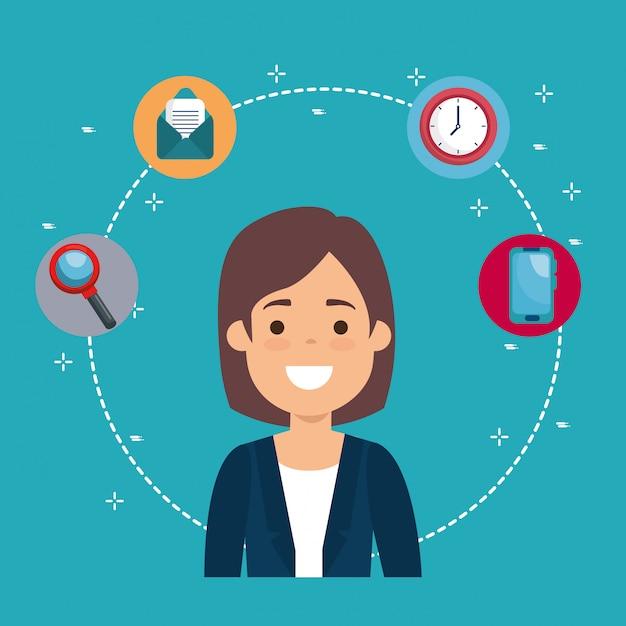 Femme d'affaires avec des icônes de l'entreprise Vecteur gratuit